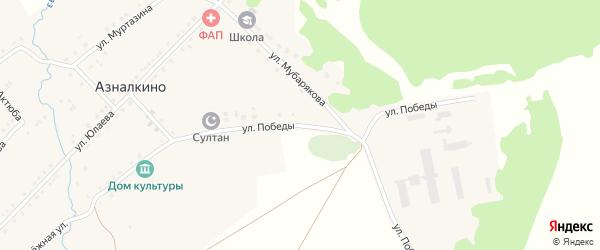 Улица Победы на карте села Азналкино с номерами домов