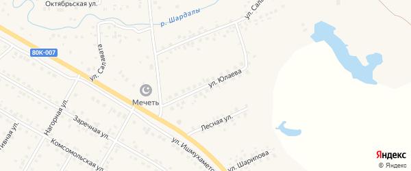 Улица Юлаева на карте села Малояза с номерами домов