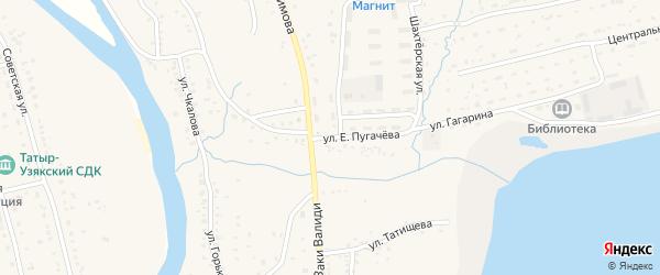 Улица Е.Пугачева на карте села Бурибая с номерами домов