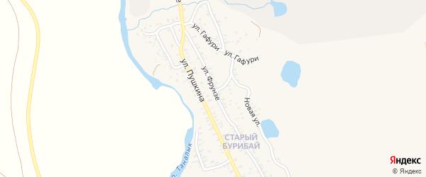 Улица Фрунзе на карте села Бурибая с номерами домов
