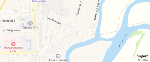 Первомайская улица на карте села Малояза с номерами домов