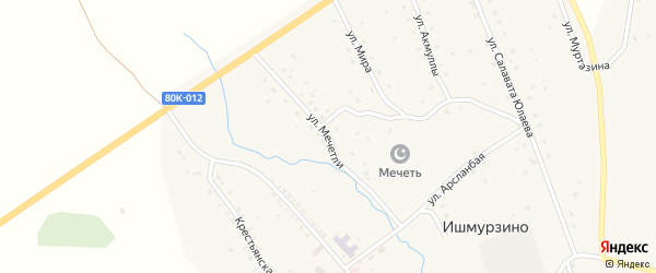 Улица Мечетли на карте села Ишмурзино с номерами домов