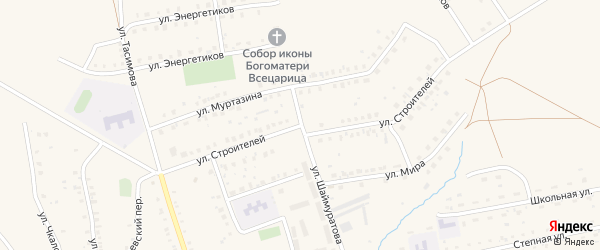Улица Строителей на карте села Бурибая с номерами домов