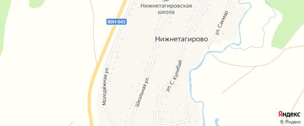 Школьная улица на карте деревни Нижнетагирово с номерами домов