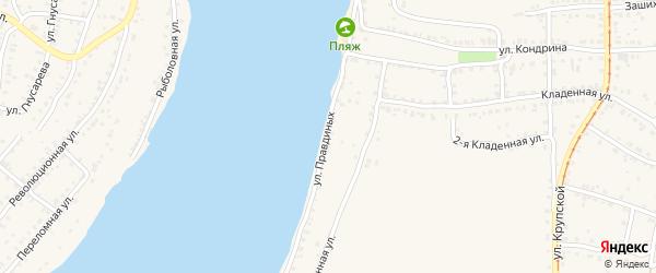 Улица Правдиных на карте Усть-Катава с номерами домов