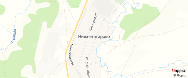 Карта деревни Нижнетагирово в Башкортостане с улицами и номерами домов