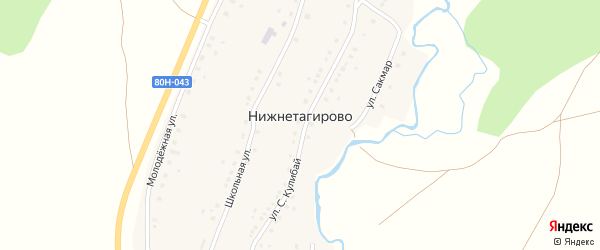 Улица Х.Кунакбай на карте деревни Нижнетагирово с номерами домов