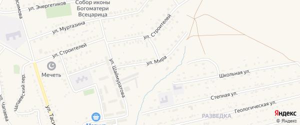 Улица Мира на карте села Бурибая с номерами домов