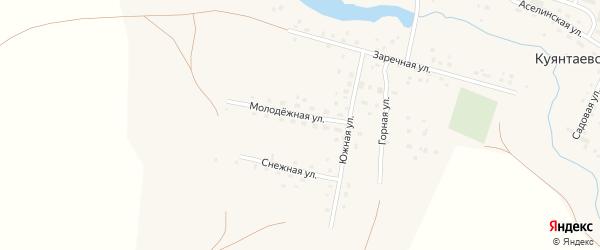Молодежная улица на карте села Куянтаево с номерами домов