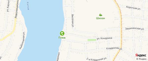 Веселая улица на карте Усть-Катава с номерами домов