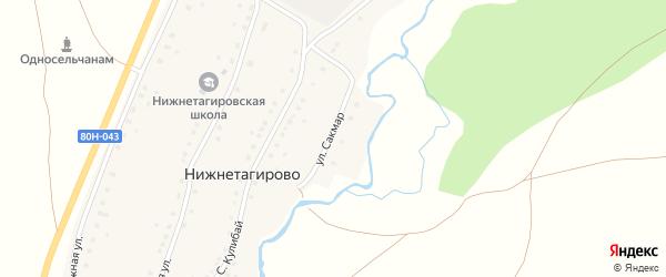 Улица Сакмар на карте деревни Нижнетагирово с номерами домов