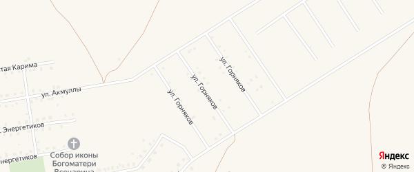 Улица Горняков на карте села Бурибая с номерами домов
