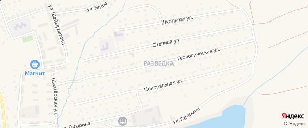 Геологическая улица на карте села Бурибая с номерами домов
