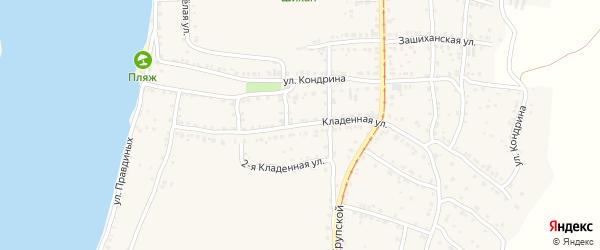 Кладенная улица на карте Усть-Катава с номерами домов