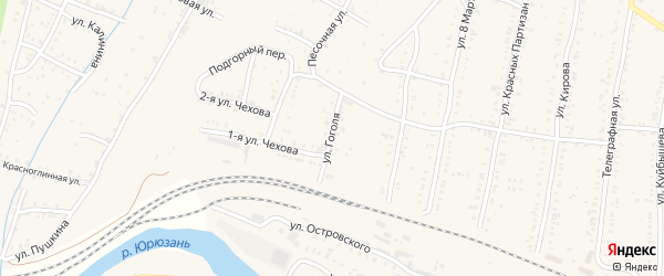 Улица Гоголя на карте Усть-Катава с номерами домов