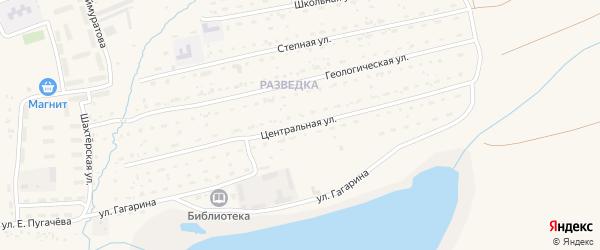 Центральная улица на карте села Бурибая с номерами домов