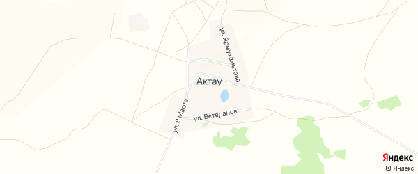 Карта деревни Актау в Башкортостане с улицами и номерами домов