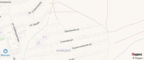 Школьная улица на карте села Бурибая с номерами домов