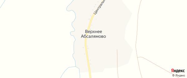 Центральная улица на карте деревни Верхнее Абсалямово с номерами домов