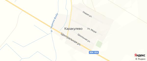Карта деревни Каракулево в Башкортостане с улицами и номерами домов