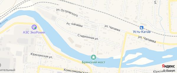 Стадионная улица на карте Усть-Катава с номерами домов