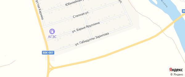 Улица Габидуллы Зарипова на карте села Малояза с номерами домов