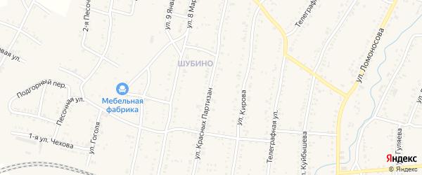 Улица Красных Партизан на карте Усть-Катава с номерами домов