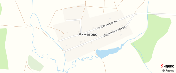 Сакмарская улица на карте деревни Ахметово с номерами домов