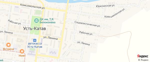 Рабочая улица на карте Усть-Катава с номерами домов