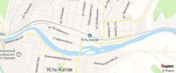 Карта железнодорожной станции Усть-Катава города Усть-Катава в Челябинской области с улицами и номерами домов