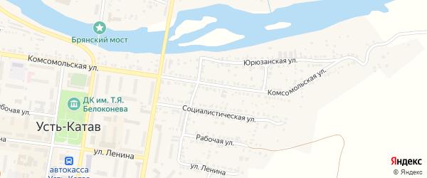 Улица ПК Автолюбитель-15 Комсомольская 74-76 на карте Усть-Катава с номерами домов