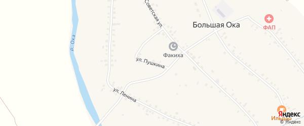 Улица Пушкина на карте села Большей Оки с номерами домов