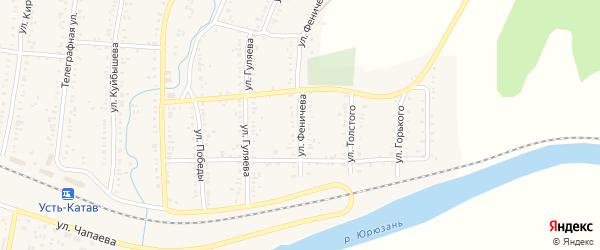 Улица Феничева на карте поселка Верхней Луки с номерами домов