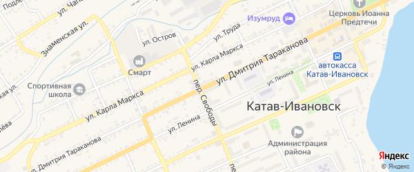Улица Дмитрия Тараканова на карте Катава-Ивановска с номерами домов