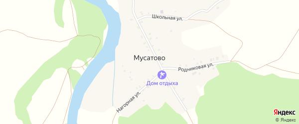 Центральная улица на карте деревни Мусатово с номерами домов
