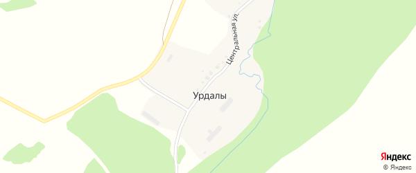 Центральная улица на карте деревни Урдалов с номерами домов