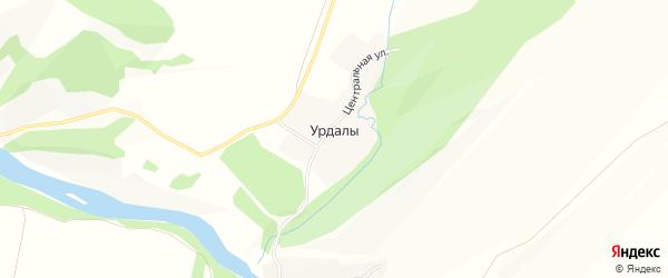 Карта деревни Урдалов в Башкортостане с улицами и номерами домов