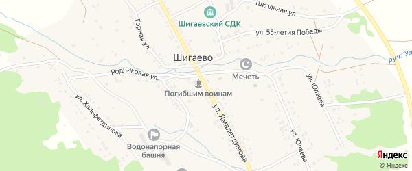 Улица Ямалетдинова на карте села Шигаево с номерами домов