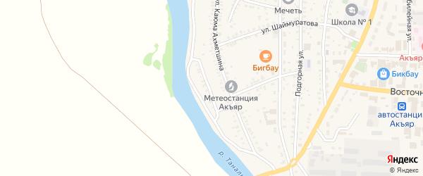 Речная улица на карте села Акъяра с номерами домов