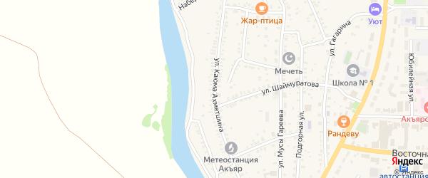 Улица Ахметшина на карте села Акъяра с номерами домов