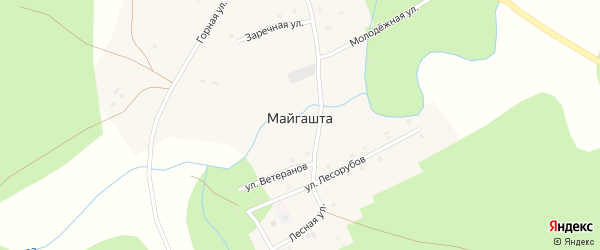 Заречная улица на карте деревни Майгашта с номерами домов
