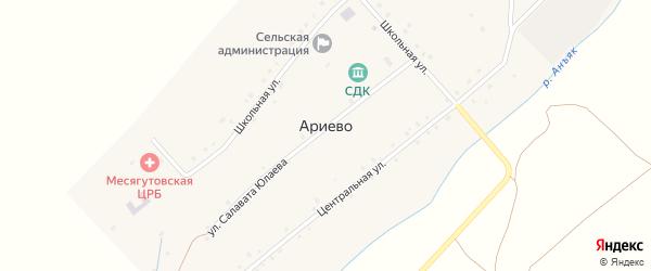 Улица Салавата Юлаева на карте села Ариево с номерами домов