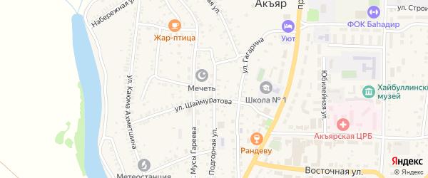 Подгорная улица на карте села Акъяра с номерами домов
