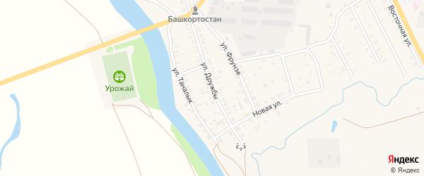 Улица Дружбы на карте села Акъяра с номерами домов