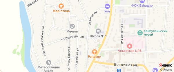 Улица Гагарина на карте села Акъяра с номерами домов