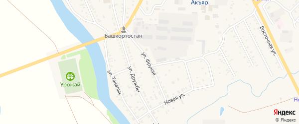 Улица Фрунзе на карте села Акъяра с номерами домов