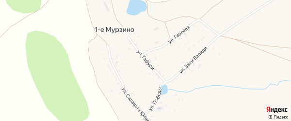 Улица Гафури на карте деревни 1-е Мурзино с номерами домов