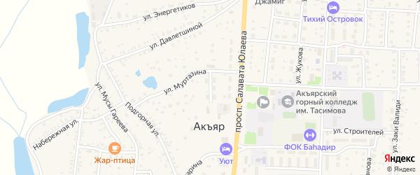 Базарный переулок на карте села Акъяра с номерами домов