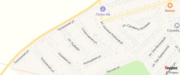 Спортивная улица на карте села Месягутово с номерами домов
