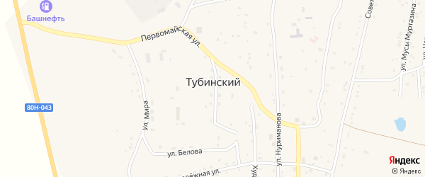 Улица М.Гафури на карте села Тубинского с номерами домов